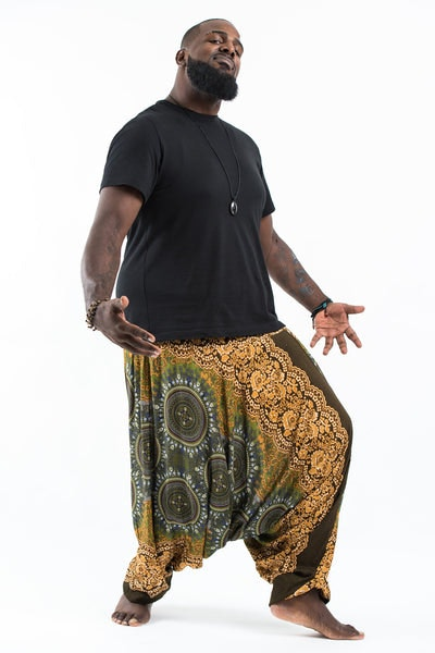 Plus Size Trishula Mandalas Drop Crotch Men's Harem Pants in Olive