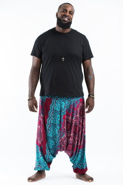 Plus Size Trishula Mandalas Drop Crotch Men's Harem Pants in Red Blue
