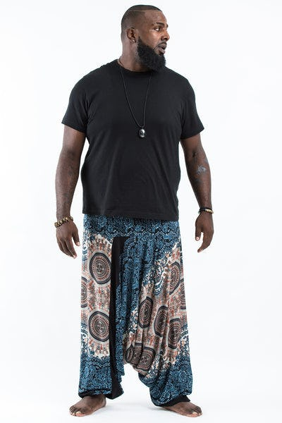 Plus Size Trishula Mandalas Drop Crotch Men's Harem Pants in Silver Gray