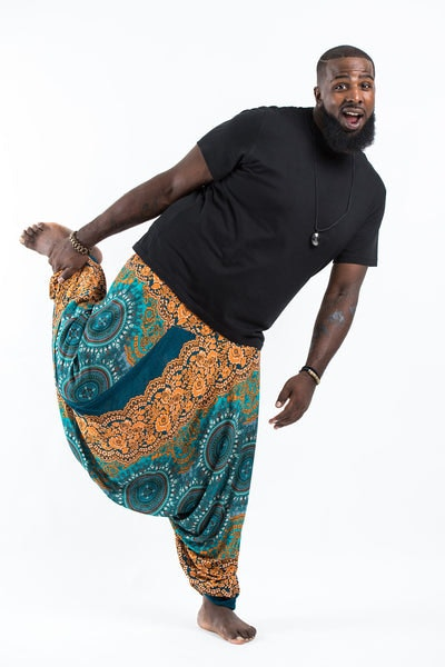 Plus Size Trishula Mandalas Drop Crotch Men's Harem Pants in Turquoise