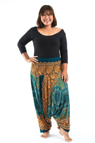 Plus Size Trishula Mandalas Drop Crotch Women's Harem Pants in Turquoise