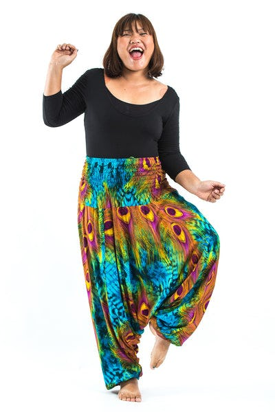 Plus Size Tie Dye Peacock Drop Crotch Women's Harem Pants in Blue