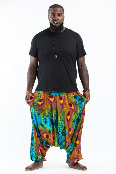 Plus Size Tie Dye Peacock Drop Crotch Men's Harem Pants in Blue