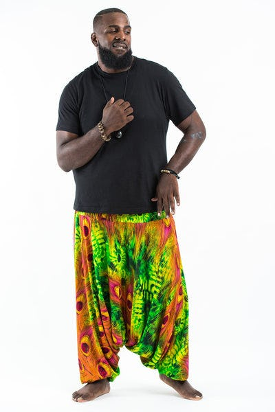 Plus Size Tie Dye Peacock Drop Crotch Men's Harem Pants in Green