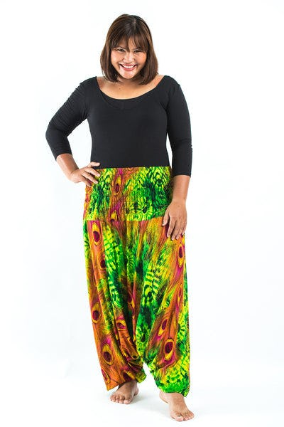 Plus Size Tie Dye Peacock Drop Crotch Women's Harem Pants in Green