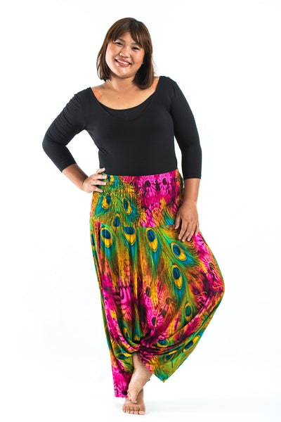 Plus Size Tie Dye Peacock Drop Crotch Women's Harem Pants in Pink
