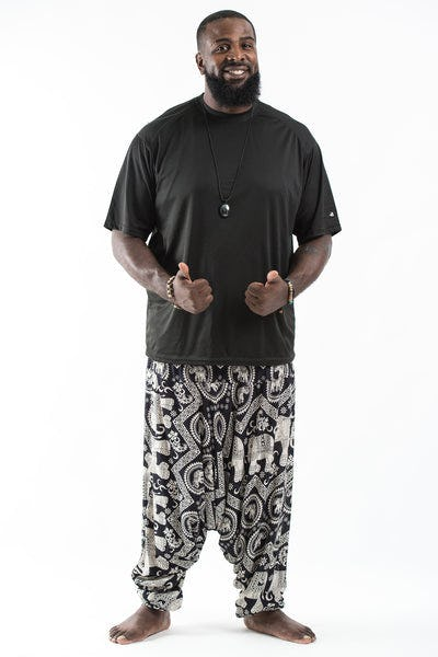 Plus Size Imperial Elephant  Drop Crotch Men's Harem Pants in Black