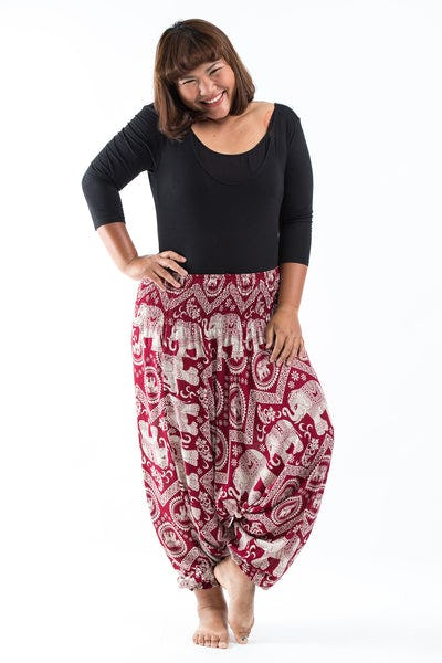 Plus Size Imperial Elephant  Drop Crotch Women's Elephant Pants in Red