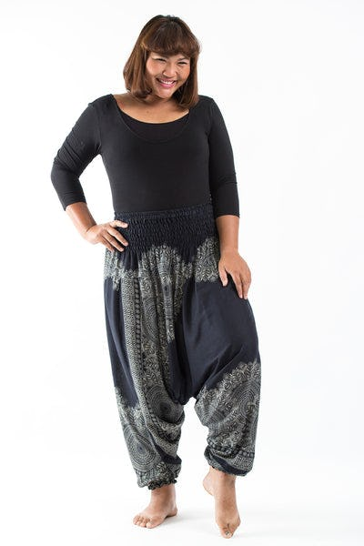 Plus Size Floral Mandalas Drop Crotch Women's Harem Pants in Black