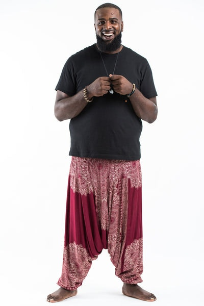 Plus Size Floral Mandalas  Drop Crotch Men's Harem Pants in Red