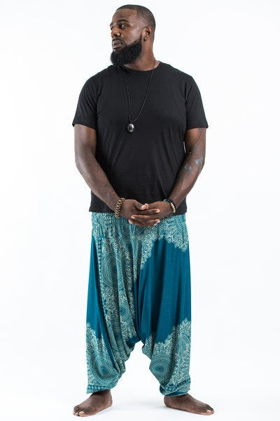 Plus Size Floral Mandalas  Drop Crotch Men's Harem Pants in Turquoise