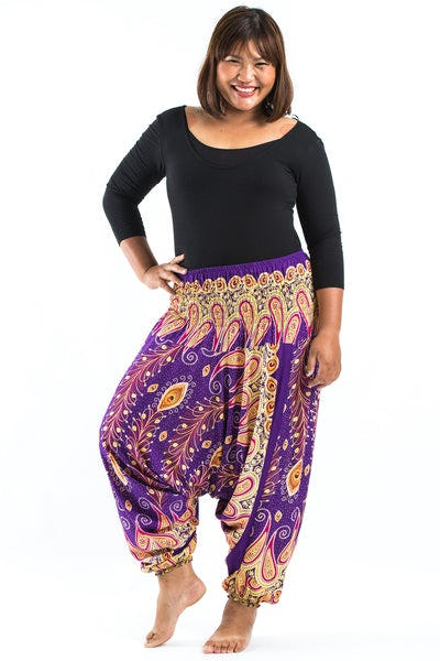 Plus Size Peacock Paisley Drop Crotch Women's Harem Pants in Purple