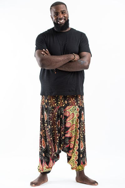 Plus Size Peacock Paisley Drop Crotch Men's Harem Pants in Black