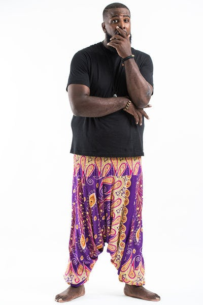 Plus Size Peacock Paisley Drop Crotch Men's Harem Pants in Purple