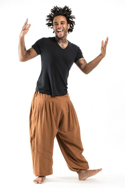 Genie Men's Cotton Harem Pants in Brown