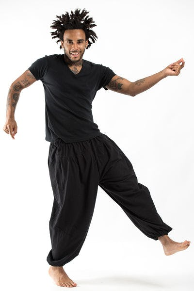 Genie Men's Cotton Harem Pants in Black