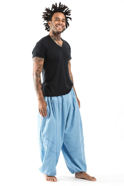 Genie Men's Cotton Harem Pants in Light Blue