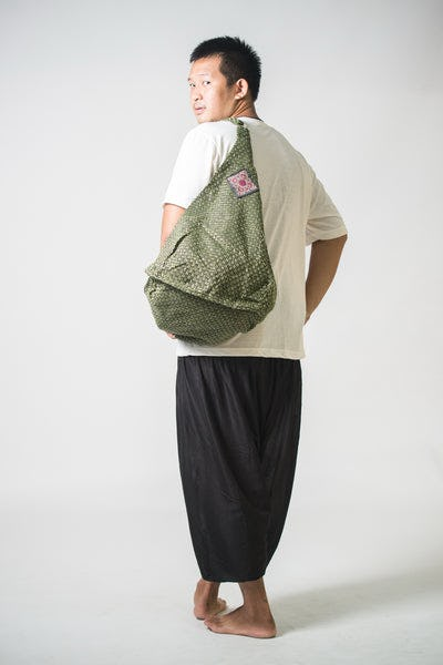 Thai Hand Made Hill Tribe Hemp Day Bag Green