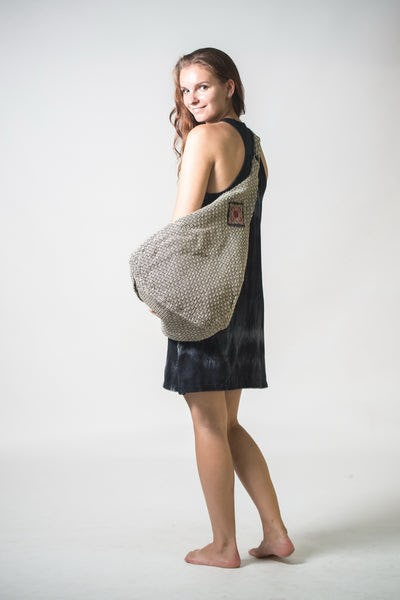 Thai Hand Made Hill Tribe Hemp Day Bag Grey