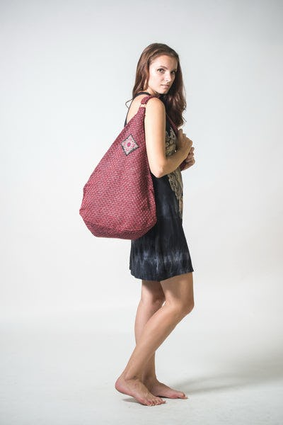 Thai Hand Made Hill Tribe Hemp Day Bag Red