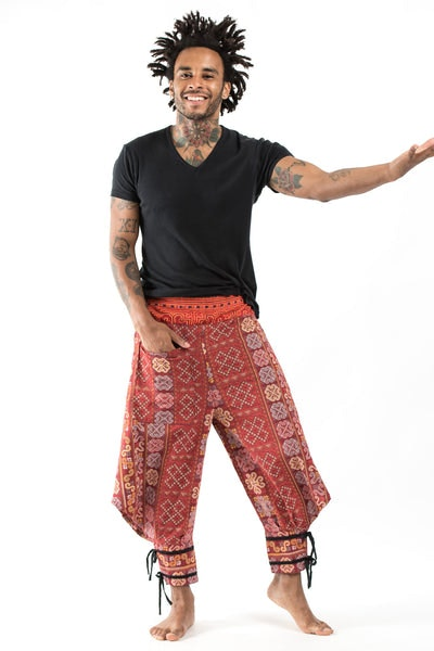 Clovers Thai Hill Tribe Fabric Men Harem Pants with Ankle Straps in Red