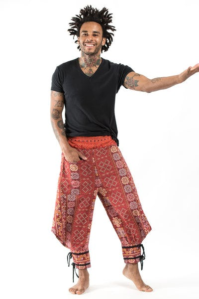Clovers Thai Hill Tribe Fabric Men's Harem Pants with Ankle Straps in Red