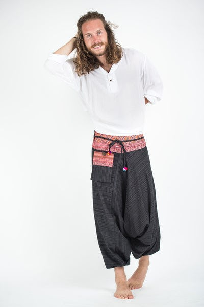 Pinstripe Cotton Low Cut Harem Pants With Hill Tribe Trim Black