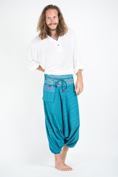 Pinstripe Cotton Low Cut Harem Pants With Hill Tribe Trim Blue