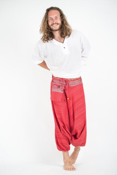 Pinstripe Cotton Low Cut Men's Harem Pants With Hill Tribe Trim Red