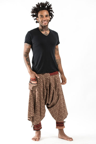 Seigaiha Wave Print Hill Tribe Drawstring Men's Harem Pants with Ankle Straps