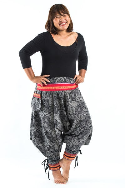 Plus Size Paisley Thai Hill Tribe Fabric Women's Harem Pants with Ankle Straps