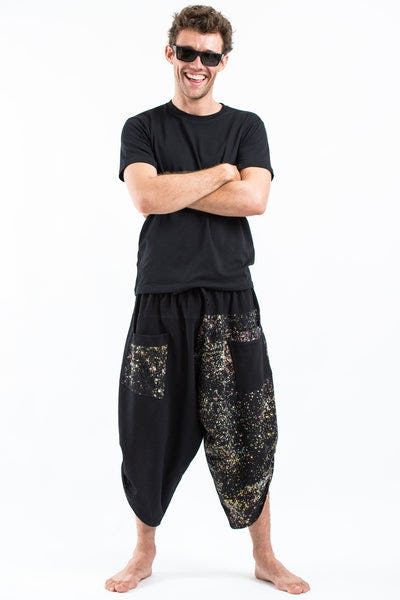 Two Tone Splatter Prints Men's Three Quarter Pants in Black