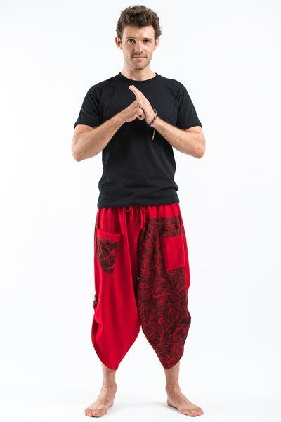 Two Tone Leaves Prints Men's Three Quarter Pants in Red