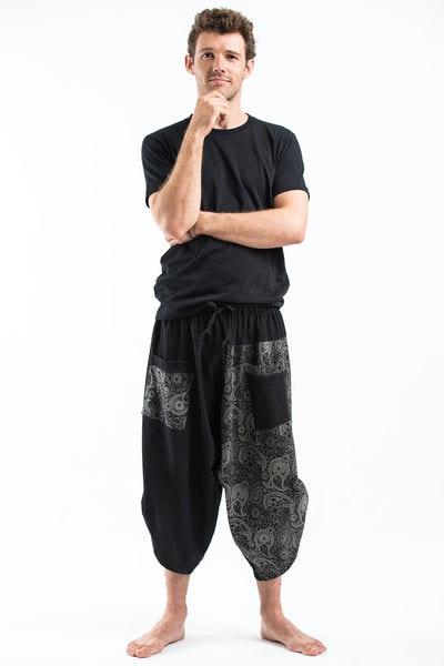 Two Tone Paisley Prints Men's Three Quarter Pants in Black