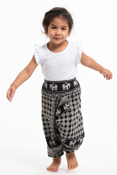 Hill Tribe Elephant Kids Elephant Pants in Black