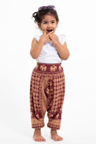 Hill Tribe Elephant Kids Elephant Pants in Red
