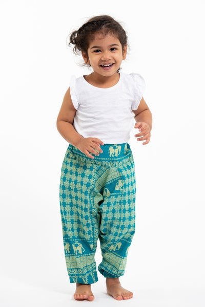 Hill Tribe Elephant Kids Elephant Pants in Turquoise
