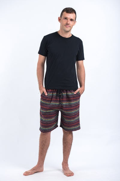 Drawstring Hill Tribe Men's Shorts In Red Rainbow