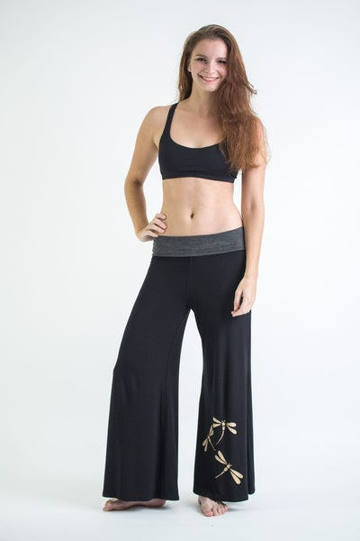 Wide Leg Palazzo Harem Pants Cotton Spandex Printed Dragonflies Black