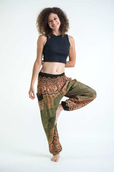 Geometric Mandalas Women's Harem Pants in Olive