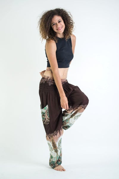 Solid Top Elephant Women's Harem Pants in Brown