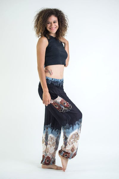 Solid Top Elephant Women's Harem Pants in Black