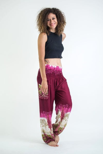 Solid Top Elephant Women's Harem Pants in Magenta
