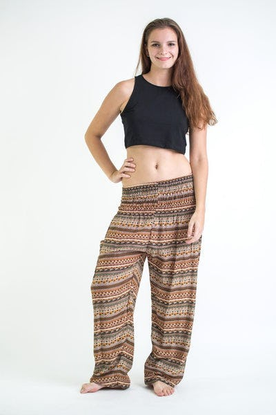 Aztec Stripes Women's Harem Pants in Sahara Brown