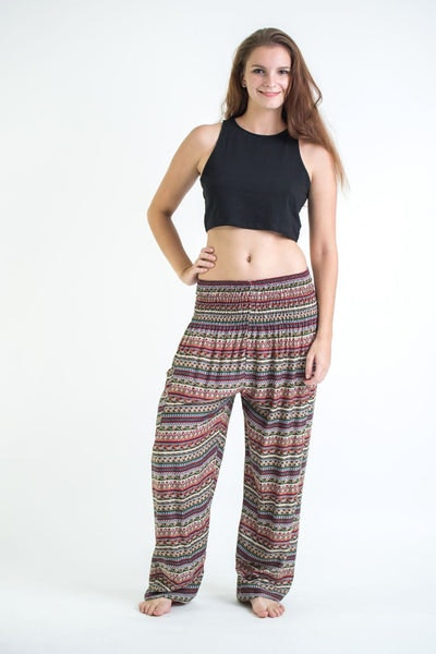 Aztec Stripes Women's Harem Pants in Wine