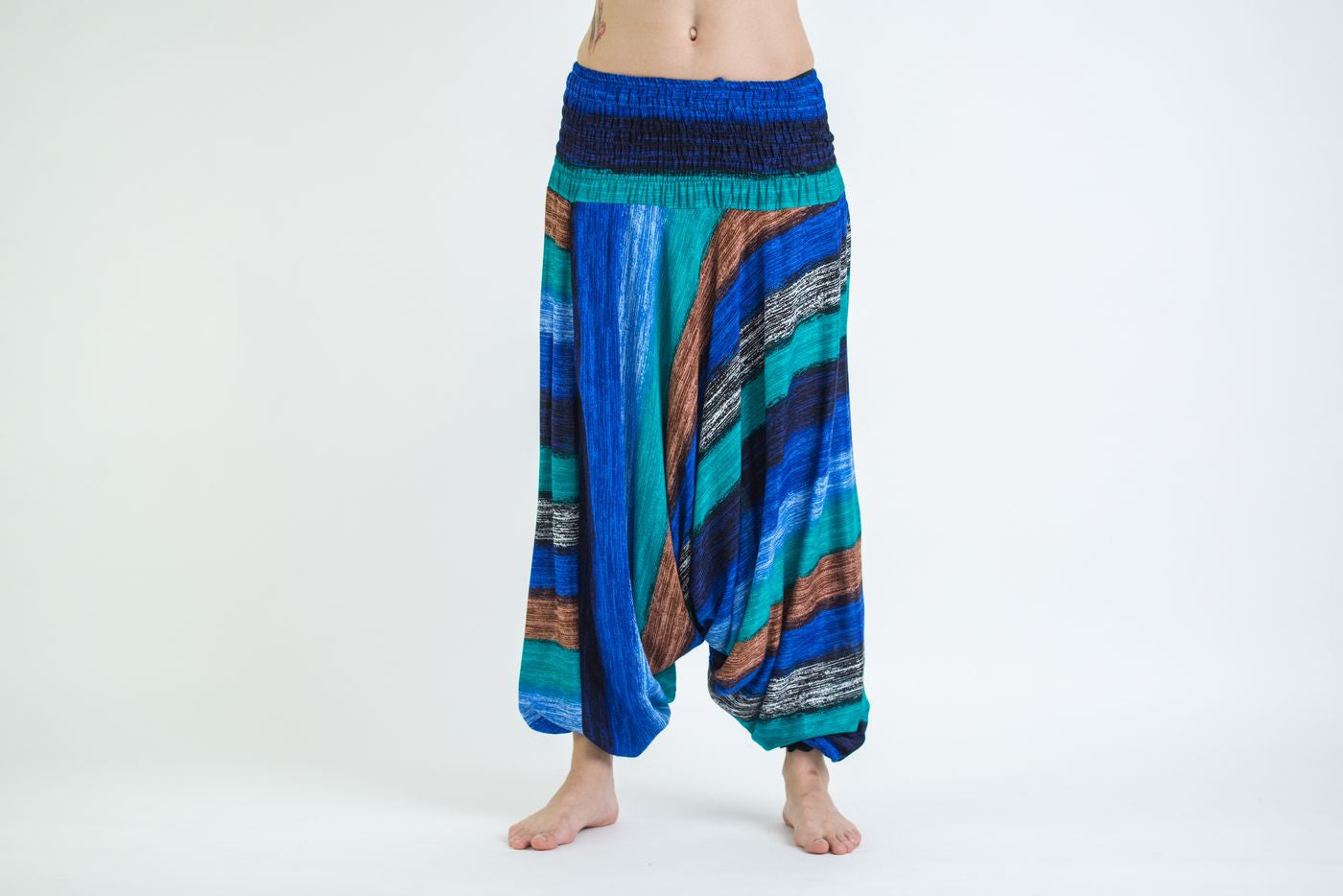 Hippie harem pants in distressed turquoise  teal with  beautiful embroidered butterflies