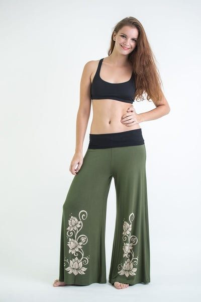 Wide Leg Palazzo Harem Pants Cotton Spandex Printed 3 Lotus Olive