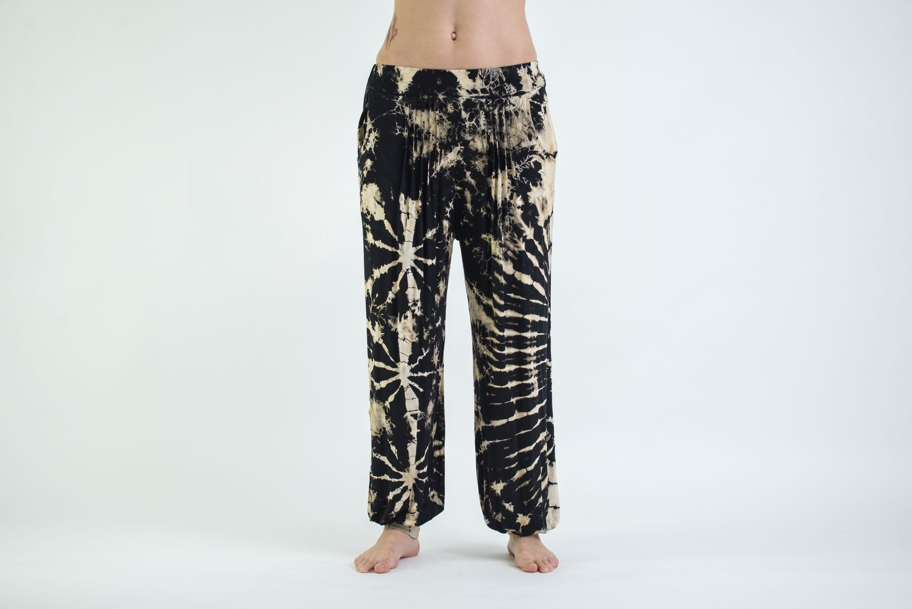 Luxury Tie Dye Cotton Women Harem Pants In Black And White