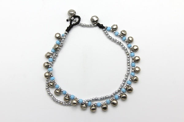 Hand Made Fair Trade Anklet Double Strand Silver Beads Blue