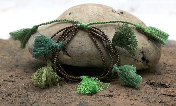 Fair Trade Hand Made Copper Color Beads With Green Tassels